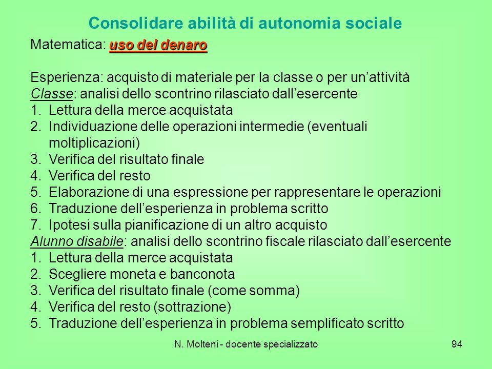 N. Molteni - docente specializzato94 Consolidare abilità di autonomia sociale uso del denaro Matematica: uso del denaro Esperienza: acquisto di materi