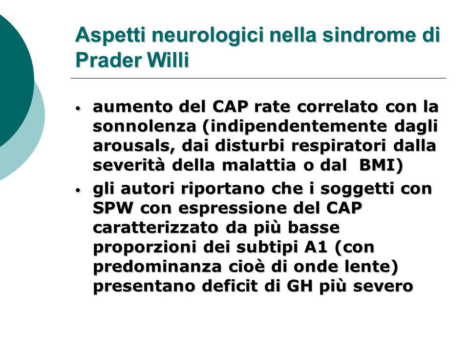 Aspetti neurologici nella sindrome di Prader Willi aumento del CAP rate correlato con la sonnolenza (indipendentemente dagli arousals, dai disturbi re