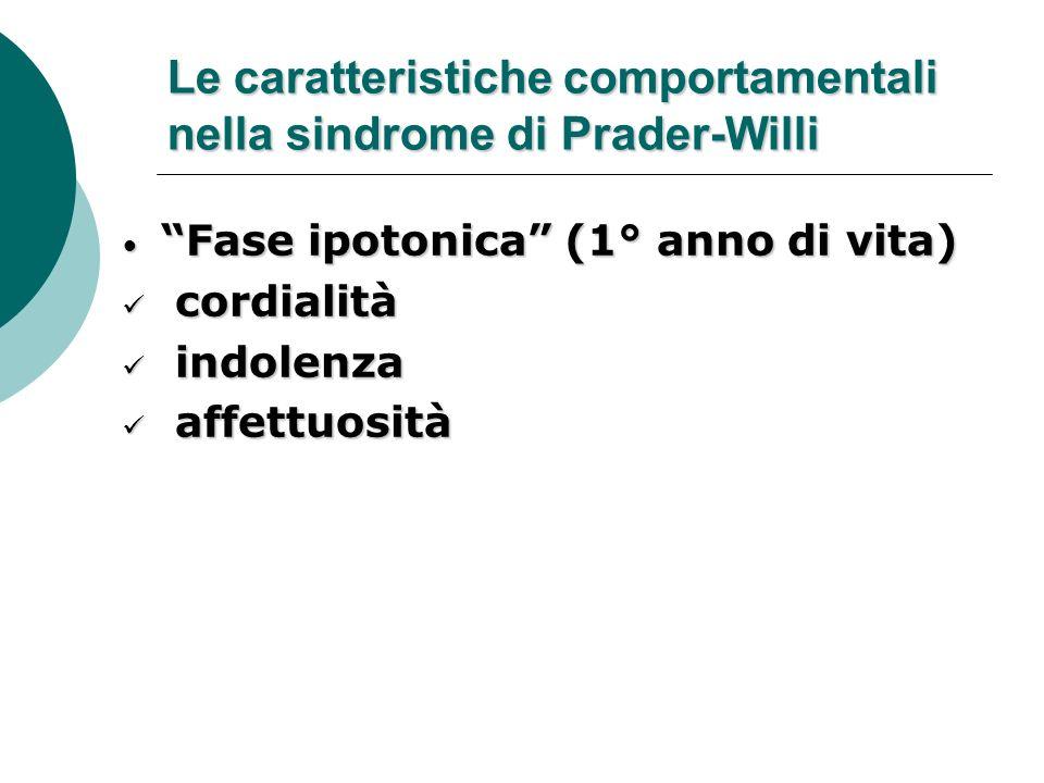 Le caratteristiche comportamentali nella sindrome di Prader-Willi Fase ipotonica (1° anno di vita) Fase ipotonica (1° anno di vita) cordialità cordial
