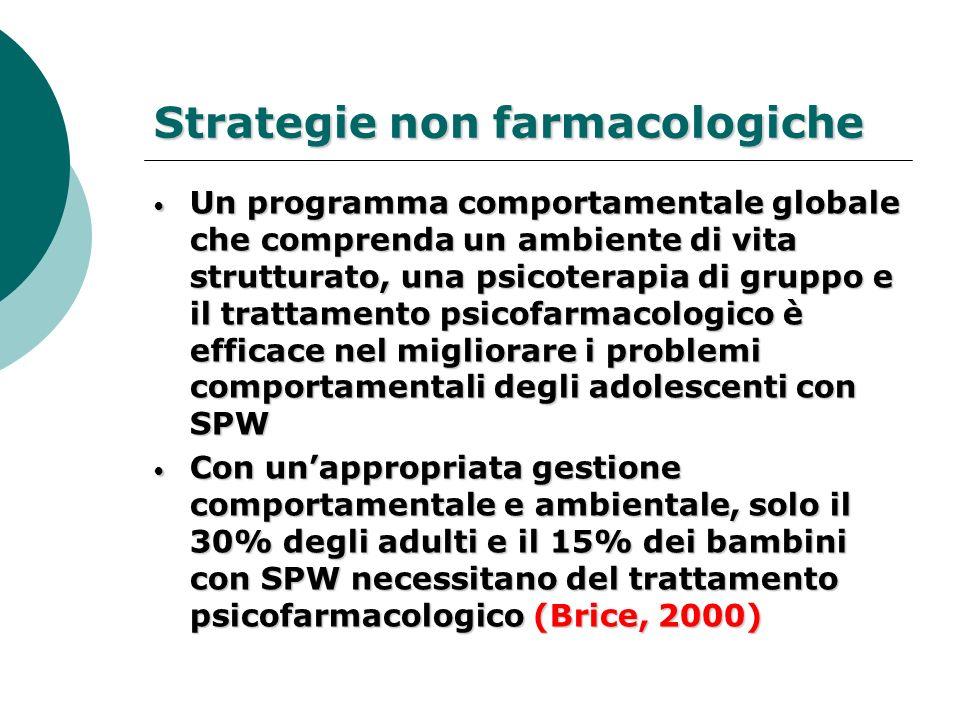 Strategie non farmacologiche Un programma comportamentale globale che comprenda un ambiente di vita strutturato, una psicoterapia di gruppo e il tratt