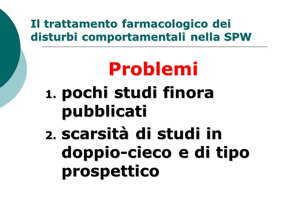 Il trattamento farmacologico dei disturbi comportamentali nella SPW Problemi 1. pochi studi finora pubblicati 2. scarsità di studi in doppio-cieco e d