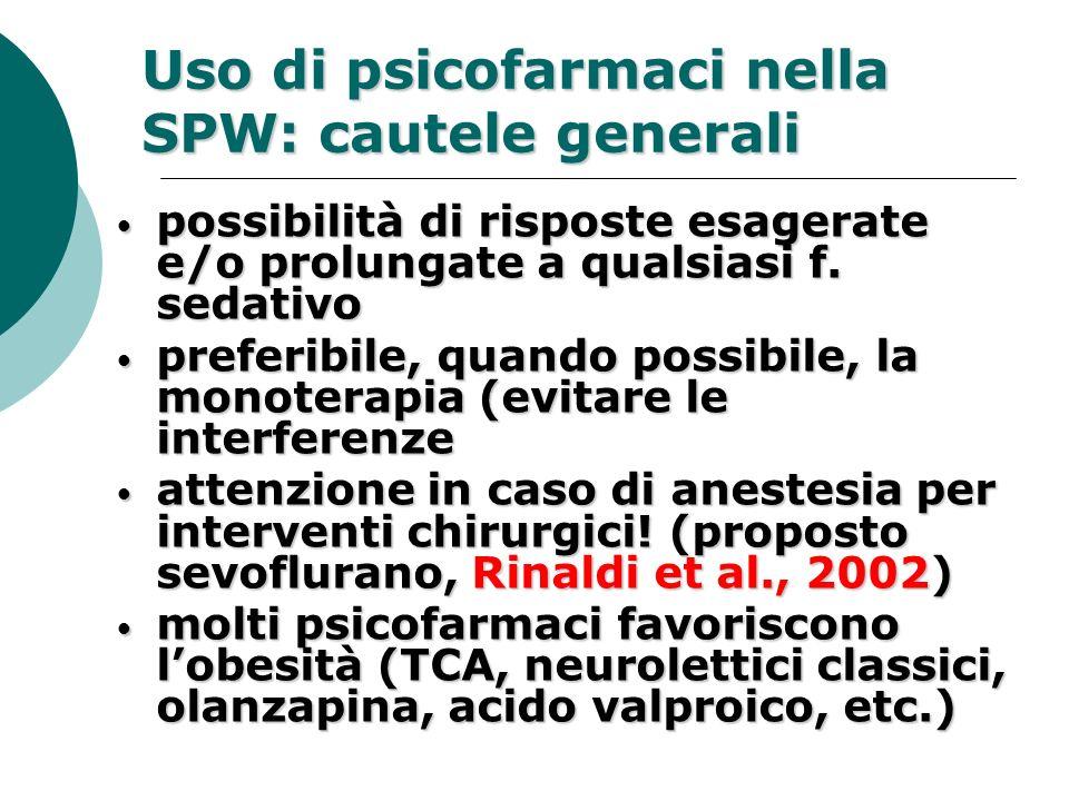 Uso di psicofarmaci nella SPW: cautele generali possibilità di risposte esagerate e/o prolungate a qualsiasi f. sedativo possibilità di risposte esage