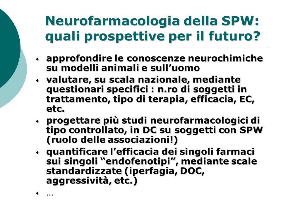 Neurofarmacologia della SPW: quali prospettive per il futuro? approfondire le conoscenze neurochimiche su modelli animali e sulluomo approfondire le c