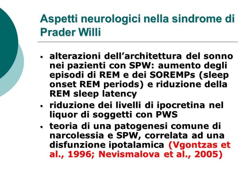 Aspetti neurologici nella sindrome di Prader Willi alterazioni dellarchitettura del sonno nei pazienti con SPW: aumento degli episodi di REM e dei SOR
