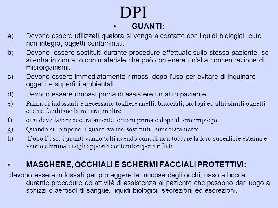 DPI GUANTI: a) Devono essere utilizzati qualora si venga a contatto con liquidi biologici, cute non integra, oggetti contaminati. b) Devono essere sos