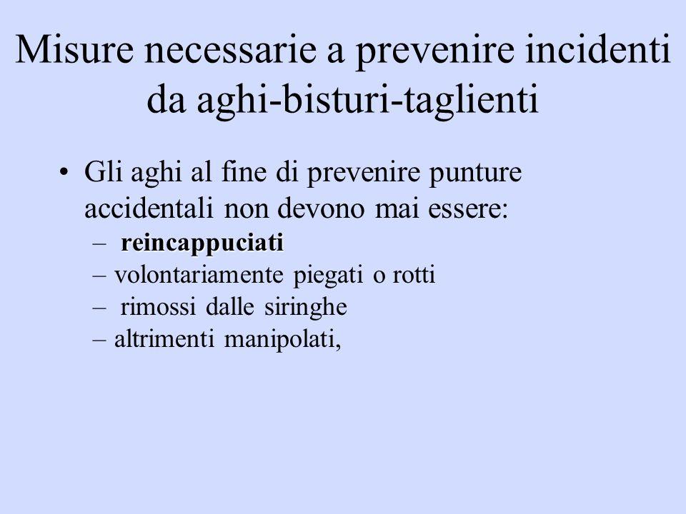 Misure necessarie a prevenire incidenti da aghi-bisturi-taglienti Gli aghi al fine di prevenire punture accidentali non devono mai essere: reincappuci