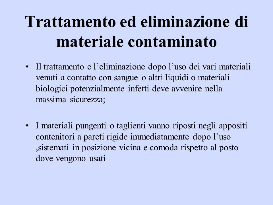 Trattamento ed eliminazione di materiale contaminato Il trattamento e leliminazione dopo luso dei vari materiali venuti a contatto con sangue o altri