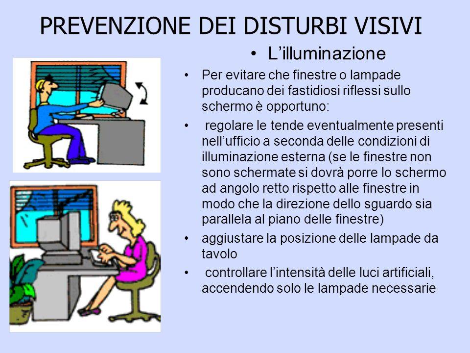 PREVENZIONE DEI DISTURBI VISIVI Lilluminazione Per evitare che finestre o lampade producano dei fastidiosi riflessi sullo schermo è opportuno: regolar