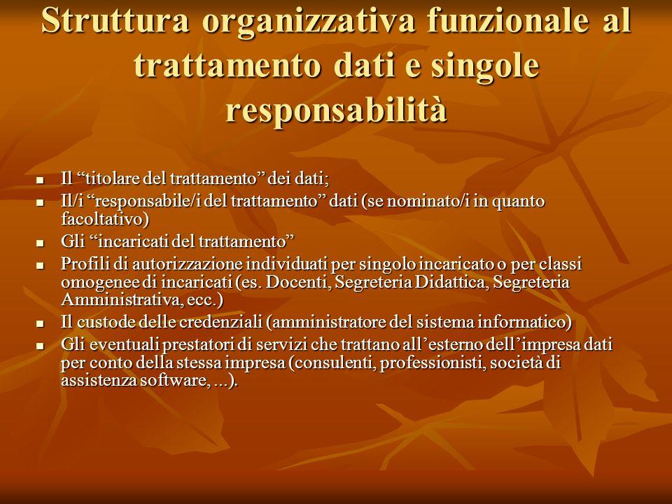 Struttura organizzativa funzionale al trattamento dati e singole responsabilità Il titolare del trattamento dei dati; Il titolare del trattamento dei