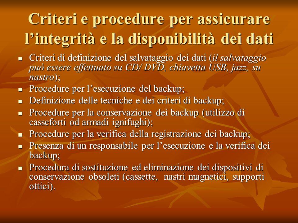 Criteri e procedure per assicurare lintegrità e la disponibilità dei dati Criteri di definizione del salvataggio dei dati (il salvataggio può essere e