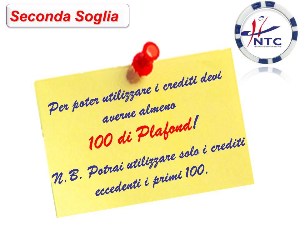 Seconda Soglia Per poter utilizzare i crediti devi averne almeno 100 di Plafond.