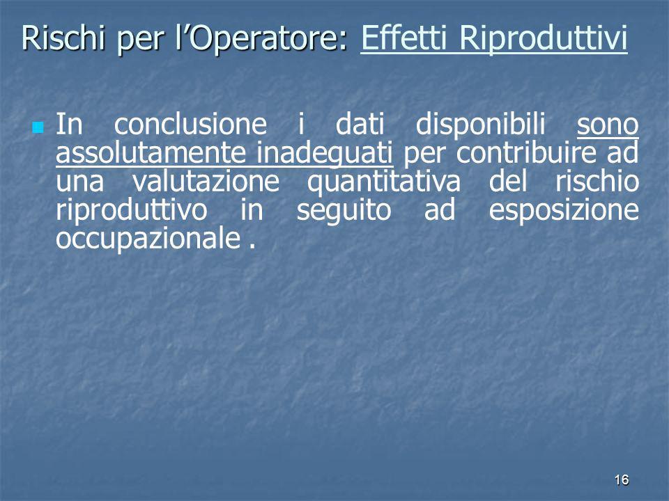16 Rischi per lOperatore: Rischi per lOperatore: Effetti Riproduttivi In conclusione i dati disponibili sono assolutamente inadeguati per contribuire