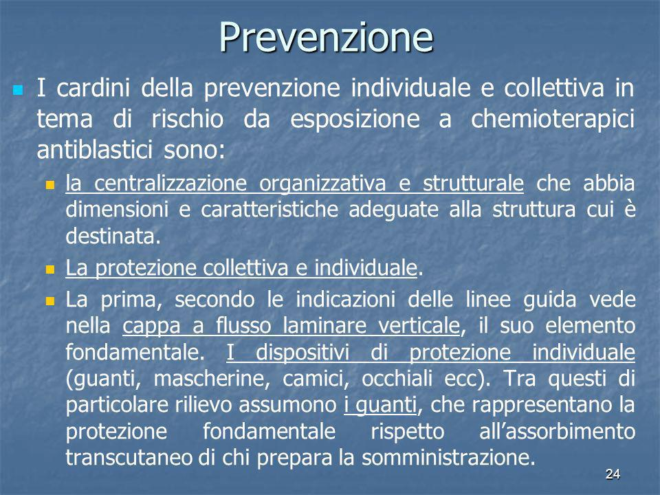 24Prevenzione I cardini della prevenzione individuale e collettiva in tema di rischio da esposizione a chemioterapici antiblastici sono: la centralizz