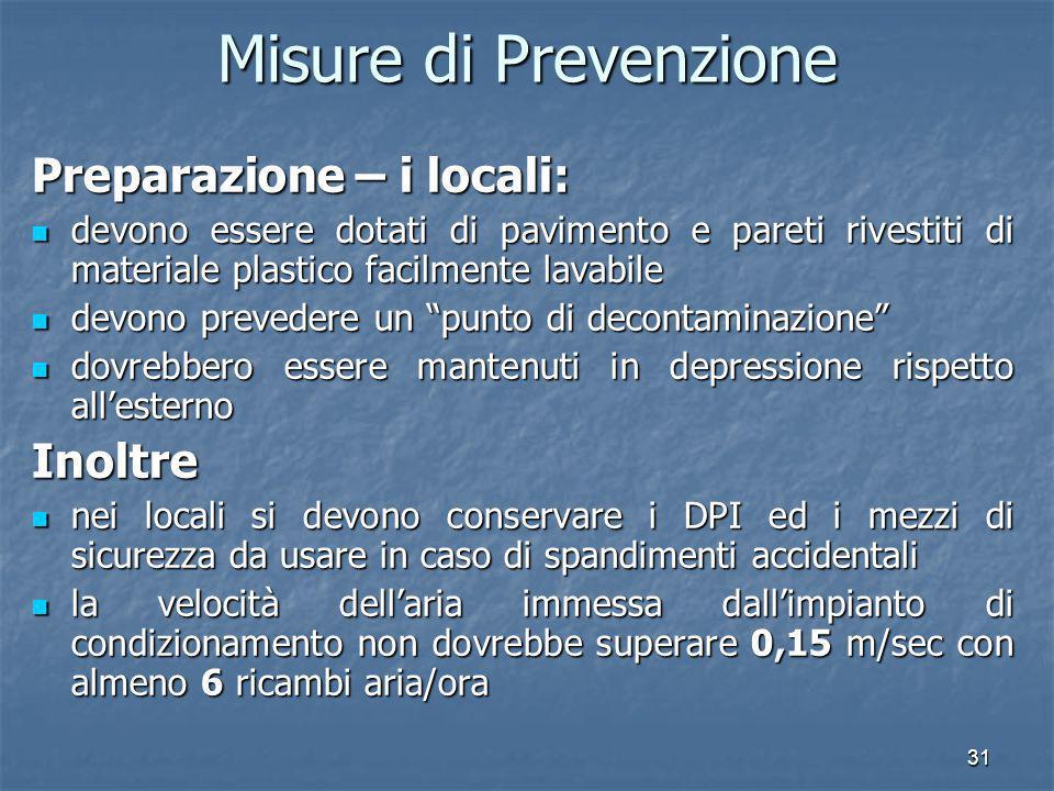 31 Misure di Prevenzione Preparazione – i locali: devono essere dotati di pavimento e pareti rivestiti di materiale plastico facilmente lavabile devon