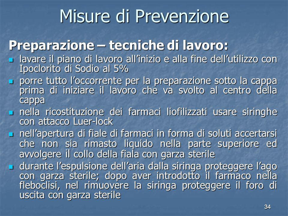 34 Misure di Prevenzione Preparazione – tecniche di lavoro: lavare il piano di lavoro allinizio e alla fine dellutilizzo con Ipoclorito di Sodio al 5%