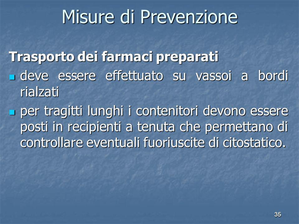 35 Misure di Prevenzione Trasporto dei farmaci preparati deve essere effettuato su vassoi a bordi rialzati deve essere effettuato su vassoi a bordi ri