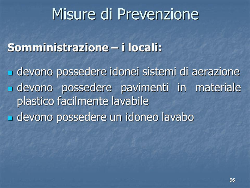 36 Misure di Prevenzione Somministrazione – i locali: devono possedere idonei sistemi di aerazione devono possedere idonei sistemi di aerazione devono