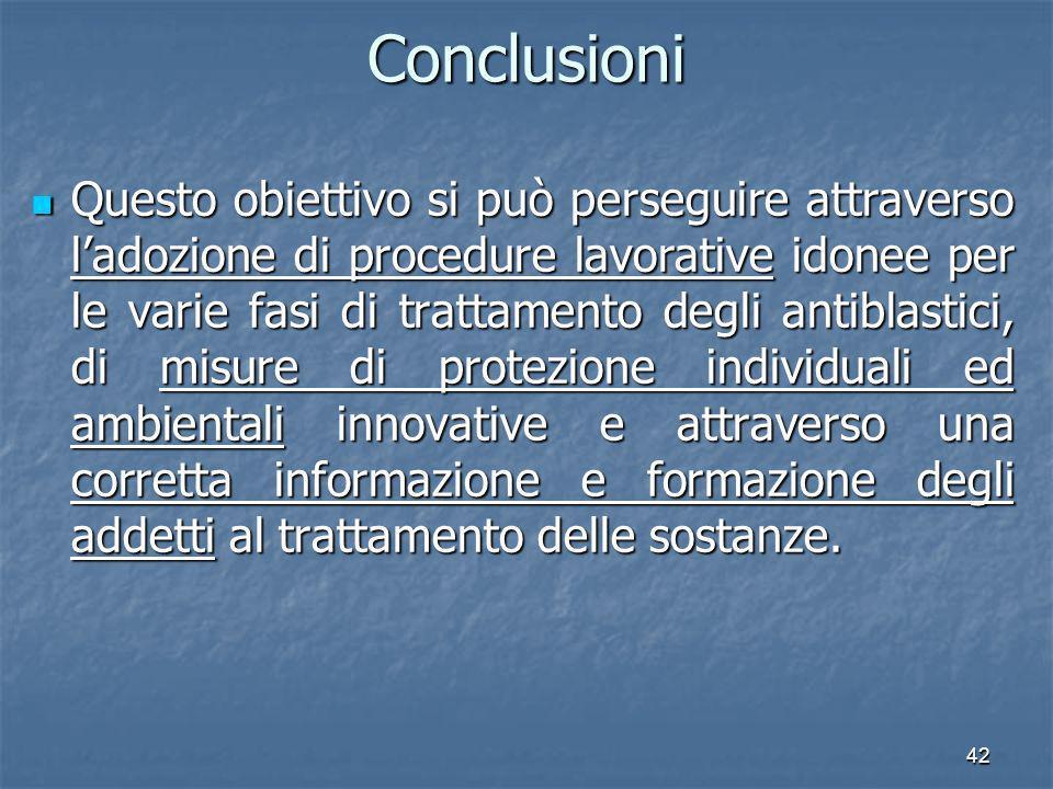 42Conclusioni Questo obiettivo si può perseguire attraverso ladozione di procedure lavorative idonee per le varie fasi di trattamento degli antiblasti
