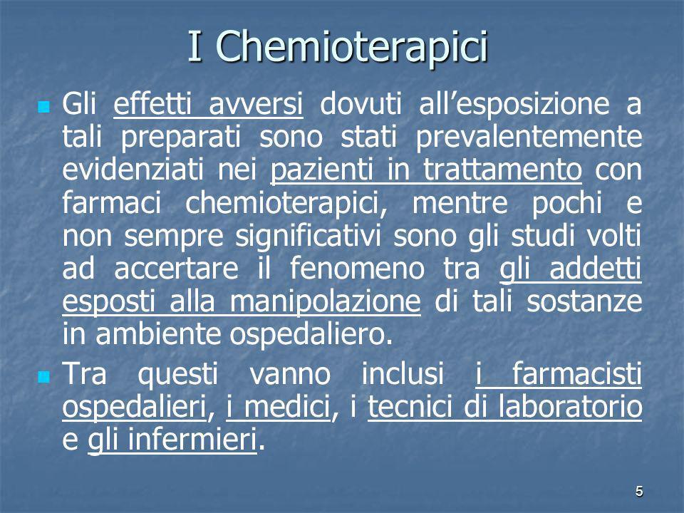 5 I Chemioterapici Gli effetti avversi dovuti allesposizione a tali preparati sono stati prevalentemente evidenziati nei pazienti in trattamento con f