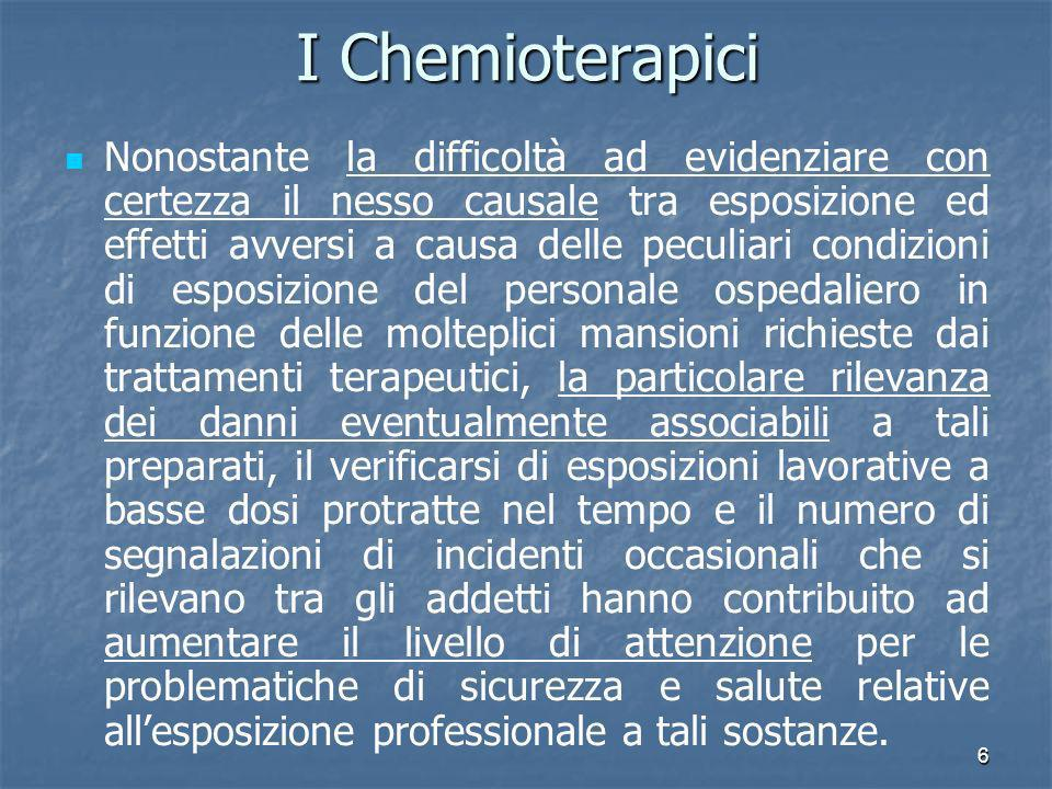 6 I Chemioterapici Nonostante la difficoltà ad evidenziare con certezza il nesso causale tra esposizione ed effetti avversi a causa delle peculiari co