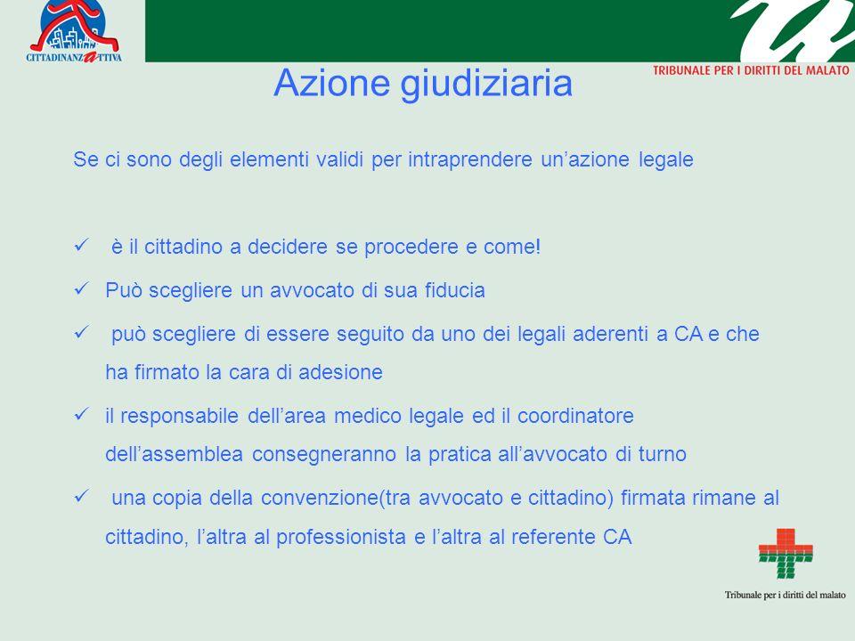 Azione giudiziaria Se ci sono degli elementi validi per intraprendere unazione legale è il cittadino a decidere se procedere e come.