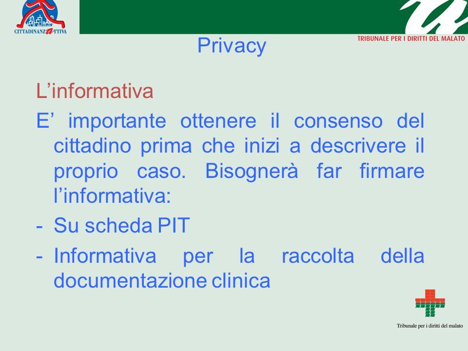 Privacy Linformativa E importante ottenere il consenso del cittadino prima che inizi a descrivere il proprio caso.