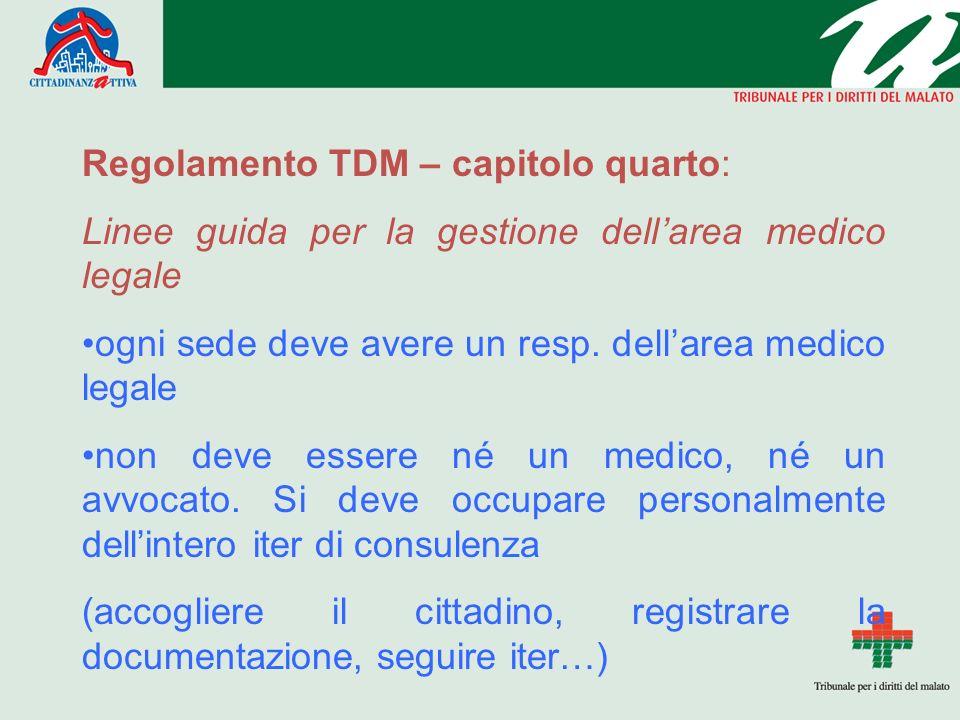 Regolamento TDM – capitolo quarto: Linee guida per la gestione dellarea medico legale ogni sede deve avere un resp.