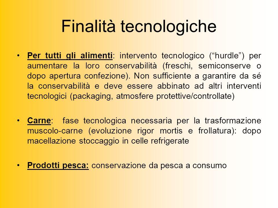 Finalità tecnologiche Per tutti gli alimenti: intervento tecnologico (hurdle) per aumentare la loro conservabilità (freschi, semiconserve o dopo apertura confezione).