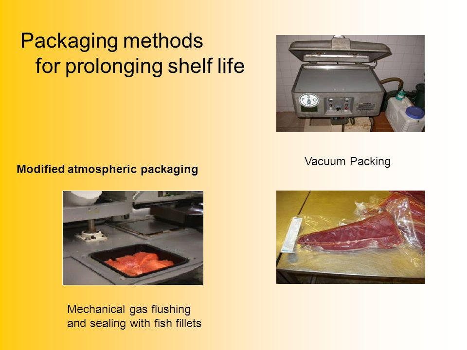 Packaging methods for prolonging shelf life Modified atmospheric packaging Mechanical gas flushing and sealing with fish fillets Vacuum Packing