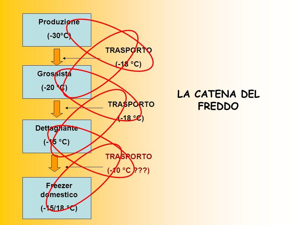 Produzione (-30°C) Grossista (-20 °C) Dettagliante (-15 °C) Freezer domestico (-15/18 °C) TRASPORTO (-18 °C) TRASPORTO (-18 °C) TRASPORTO (-10 °C ???) LA CATENA DEL FREDDO