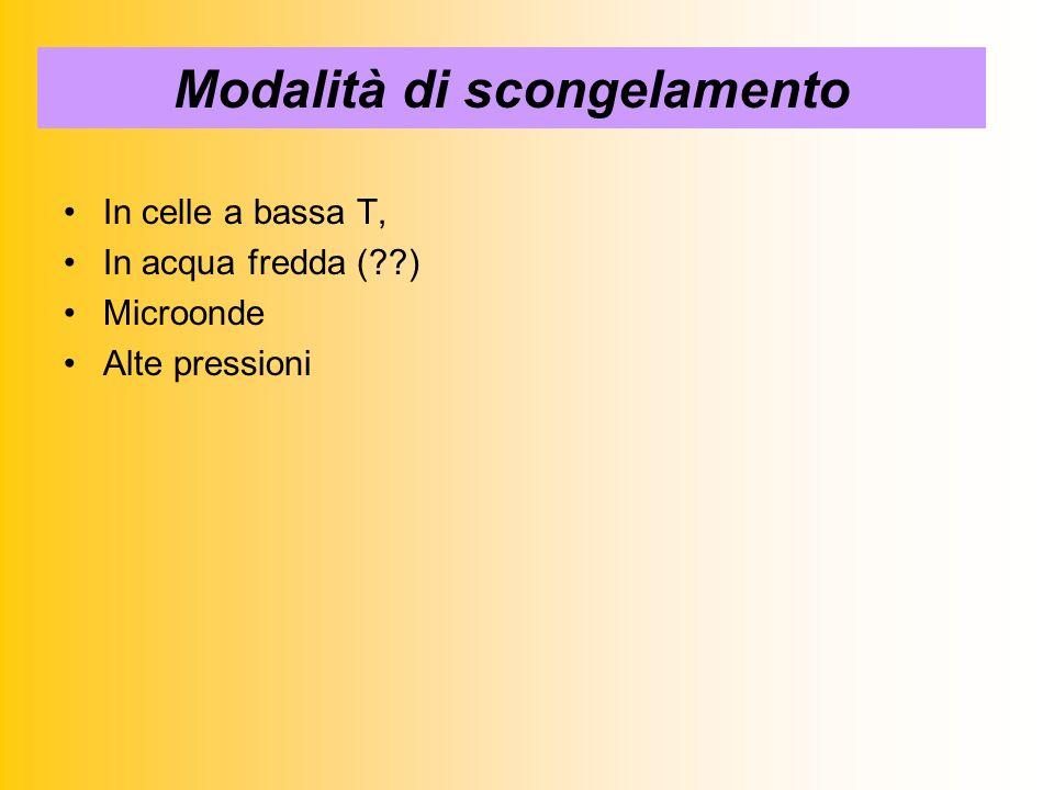 Modalità di scongelamento In celle a bassa T, In acqua fredda (??) Microonde Alte pressioni