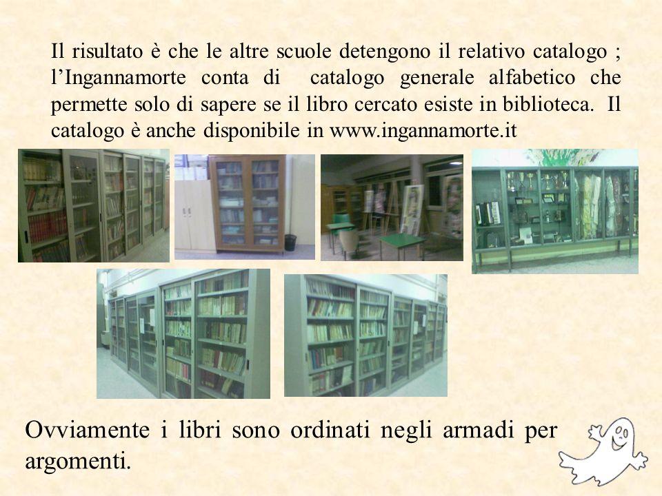 Il risultato è che le altre scuole detengono il relativo catalogo ; lIngannamorte conta di catalogo generale alfabetico che permette solo di sapere se il libro cercato esiste in biblioteca.