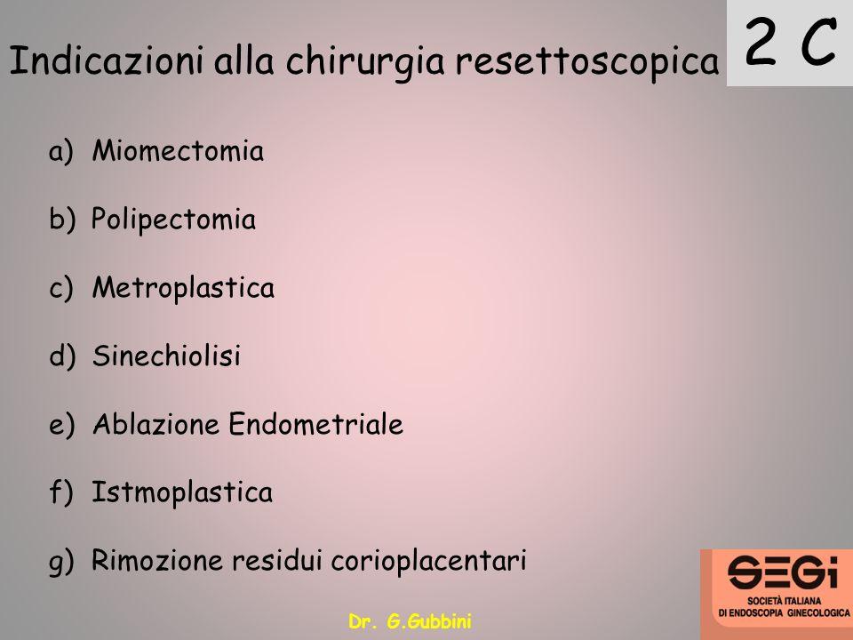 Indicazioni alla chirurgia resettoscopica 2 C a)Miomectomia b)Polipectomia c)Metroplastica d)Sinechiolisi e)Ablazione Endometriale f)Istmoplastica g)R