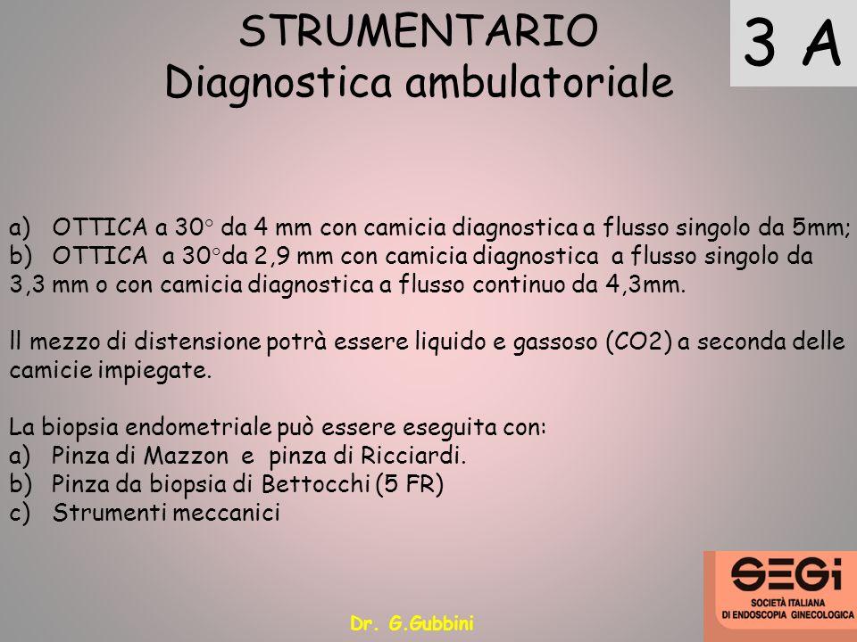 3 A STRUMENTARIO Diagnostica ambulatoriale a)OTTICA a 30° da 4 mm con camicia diagnostica a flusso singolo da 5mm; b)OTTICA a 30°da 2,9 mm con camicia