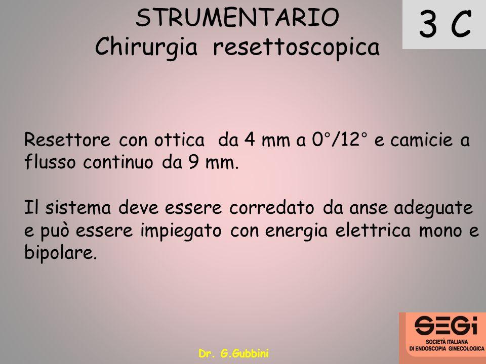 3 C STRUMENTARIO Chirurgia resettoscopica Resettore con ottica da 4 mm a 0°/12° e camicie a flusso continuo da 9 mm. Il sistema deve essere corredato
