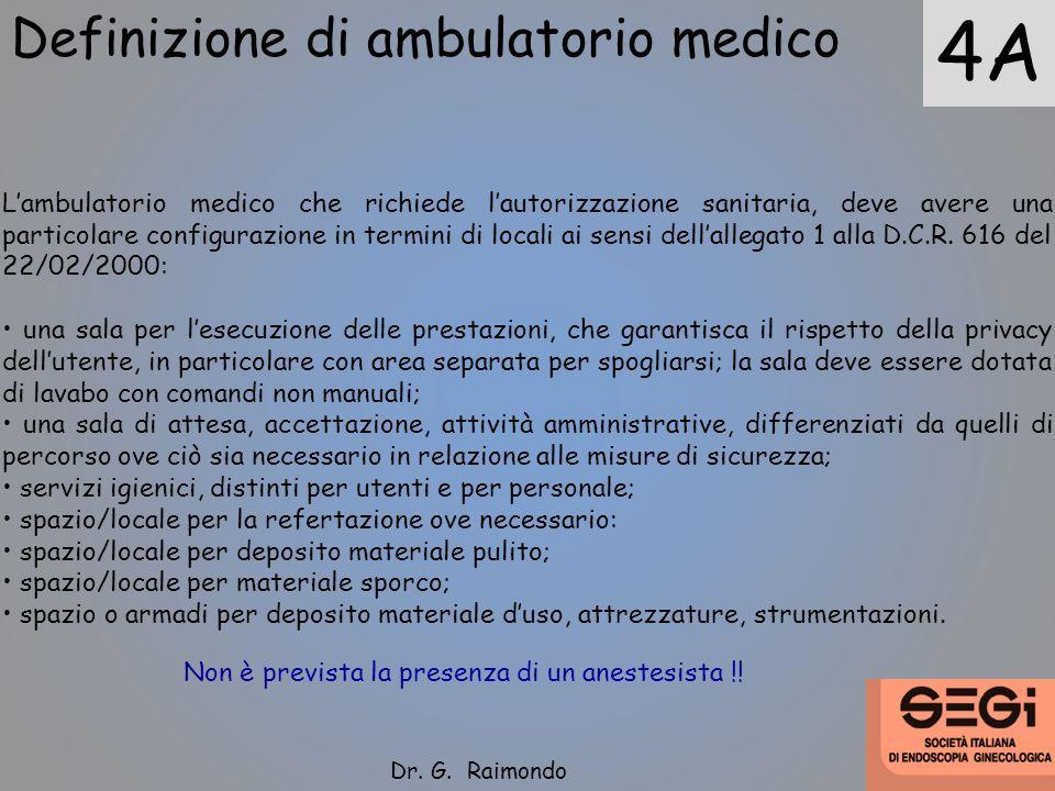 Definizione di ambulatorio medico 4A Lambulatorio medico che richiede lautorizzazione sanitaria, deve avere una particolare configurazione in termini