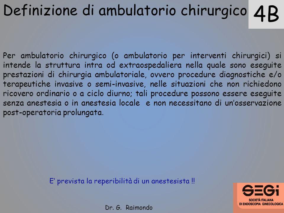 Per ambulatorio chirurgico (o ambulatorio per interventi chirurgici) si intende la struttura intra od extraospedaliera nella quale sono eseguite prest