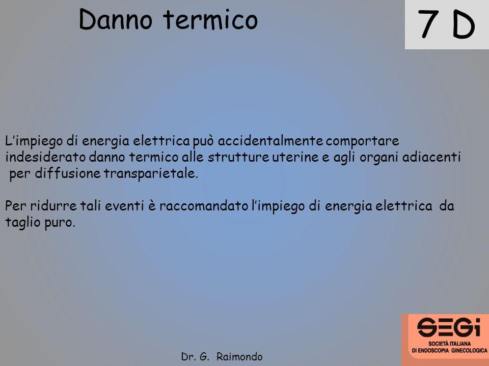 7 D Danno termico Limpiego di energia elettrica può accidentalmente comportare indesiderato danno termico alle strutture uterine e agli organi adiacen