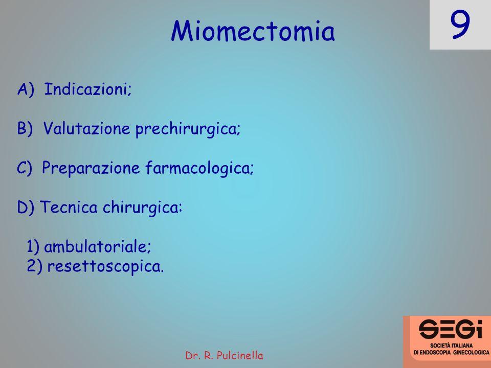 9 Dr. R. Pulcinella Miomectomia A) Indicazioni; B) Valutazione prechirurgica; C) Preparazione farmacologica; D) Tecnica chirurgica: 1) ambulatoriale;