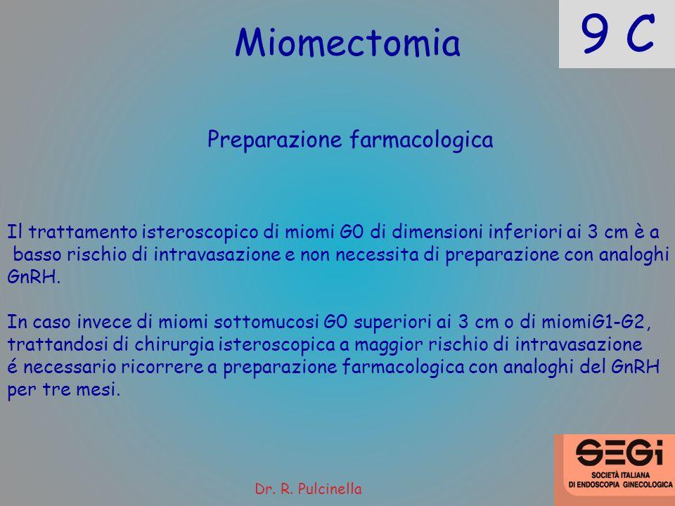 9 C Miomectomia Preparazione farmacologica Il trattamento isteroscopico di miomi G0 di dimensioni inferiori ai 3 cm è a basso rischio di intravasazion