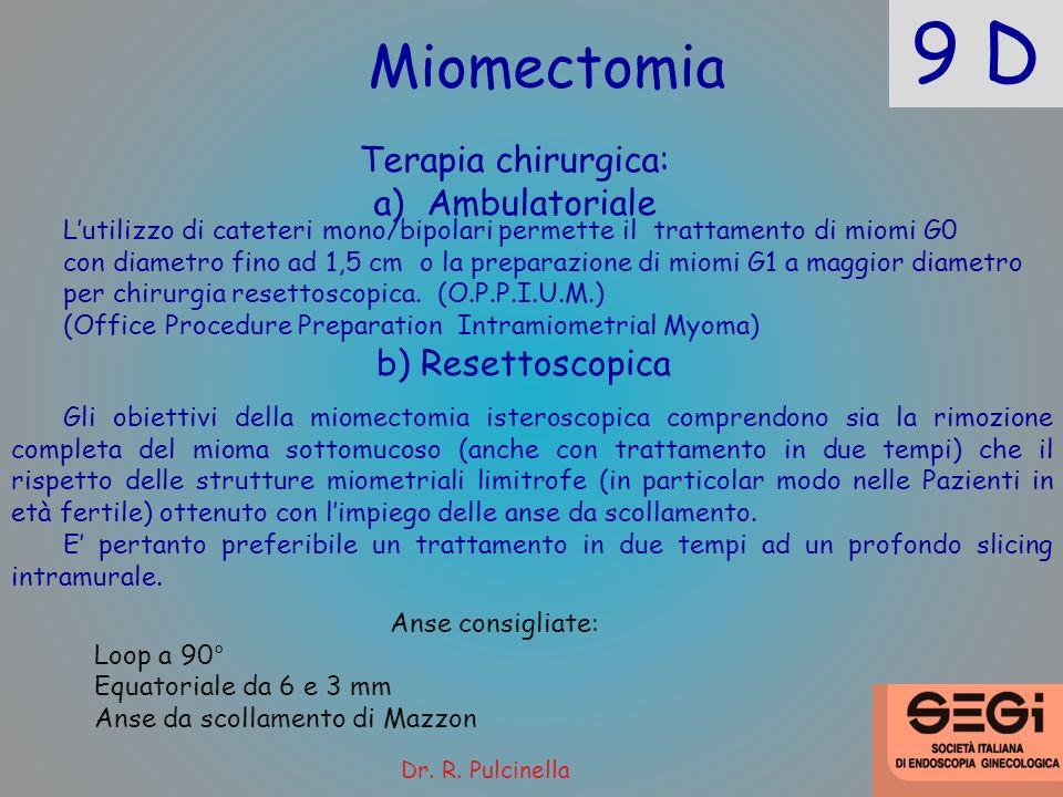 9 D Miomectomia Terapia chirurgica: a)Ambulatoriale Gli obiettivi della miomectomia isteroscopica comprendono sia la rimozione completa del mioma sott
