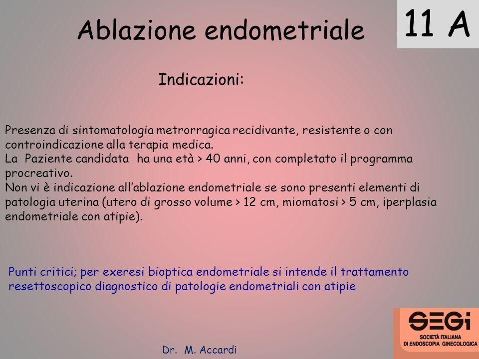 11 A Ablazione endometriale Indicazioni: Presenza di sintomatologia metrorragica recidivante, resistente o con controindicazione alla terapia medica.