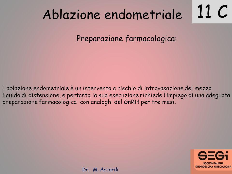 11 C Ablazione endometriale Preparazione farmacologica: Lablazione endometriale è un intervento a rischio di intravasazione del mezzo liquido di diste