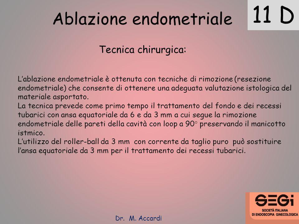 11 D Ablazione endometriale Tecnica chirurgica: Lablazione endometriale è ottenuta con tecniche di rimozione (resezione endometriale) che consente di