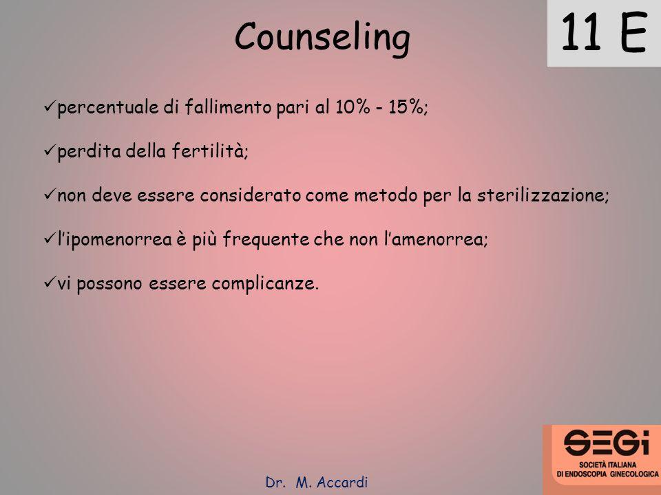 11 E Counseling percentuale di fallimento pari al 10% - 15%; perdita della fertilità; non deve essere considerato come metodo per la sterilizzazione;