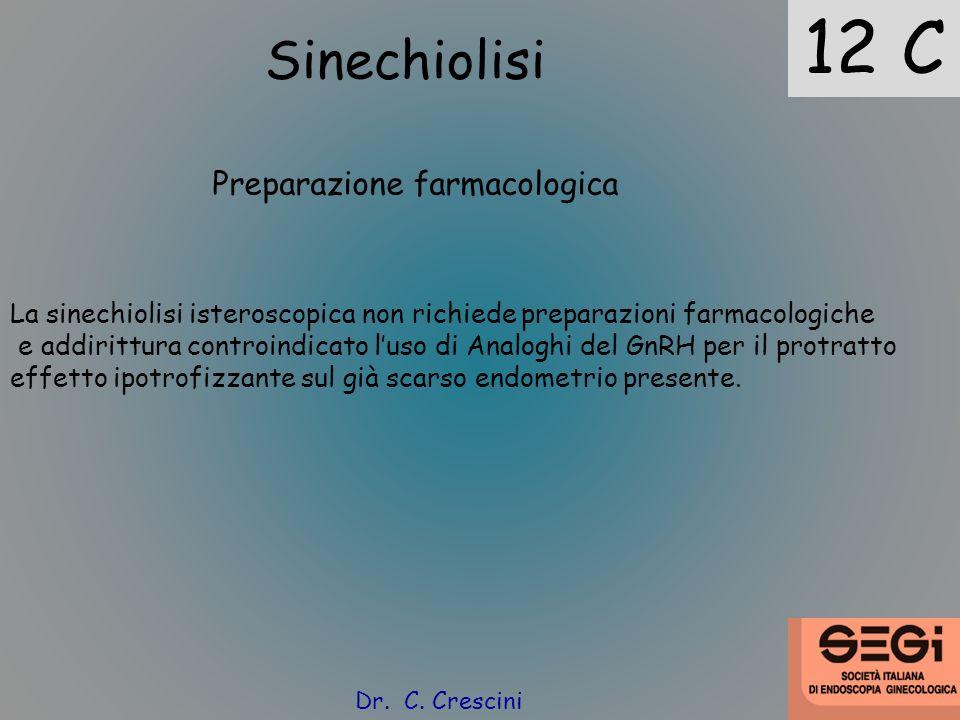 12 C Sinechiolisi Preparazione farmacologica La sinechiolisi isteroscopica non richiede preparazioni farmacologiche e addirittura controindicato luso