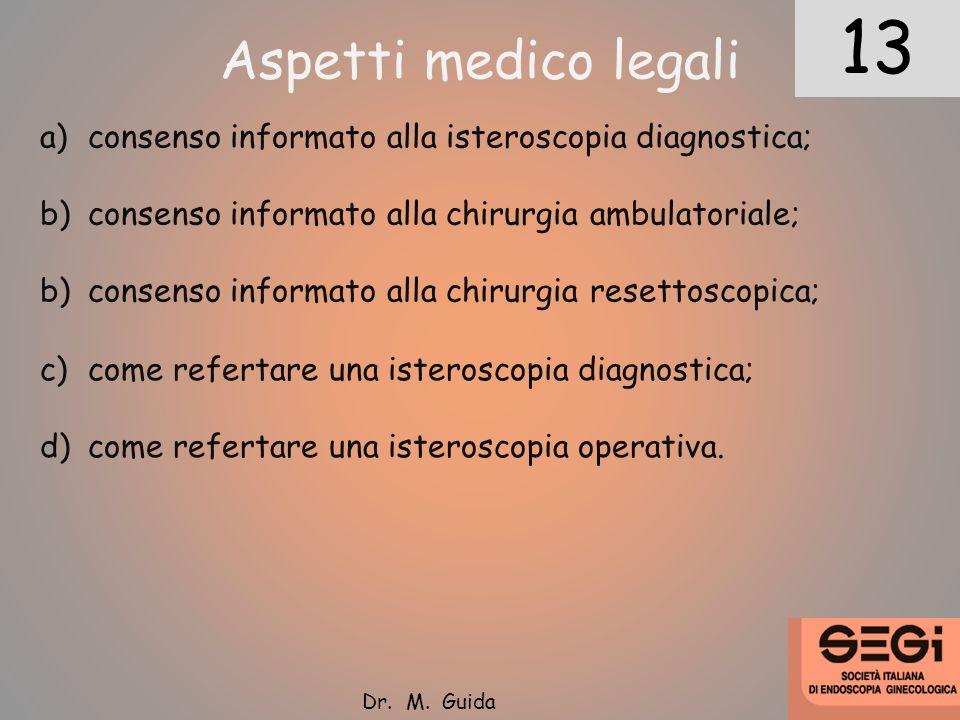 1213 Dr. M. Guida Aspetti medico legali a)consenso informato alla isteroscopia diagnostica; b)consenso informato alla chirurgia ambulatoriale; b)conse