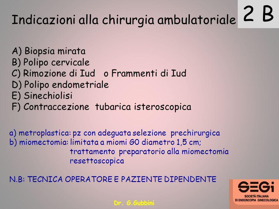 Indicazioni alla chirurgia ambulatoriale 2 B A) Biopsia mirata B) Polipo cervicale C) Rimozione di Iud o Frammenti di Iud D) Polipo endometriale E) Si