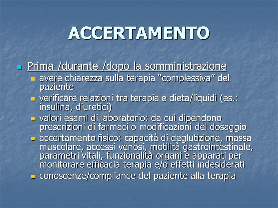 ACCERTAMENTO Prima /durante /dopo la somministrazione Prima /durante /dopo la somministrazione avere chiarezza sulla terapia complessiva del paziente