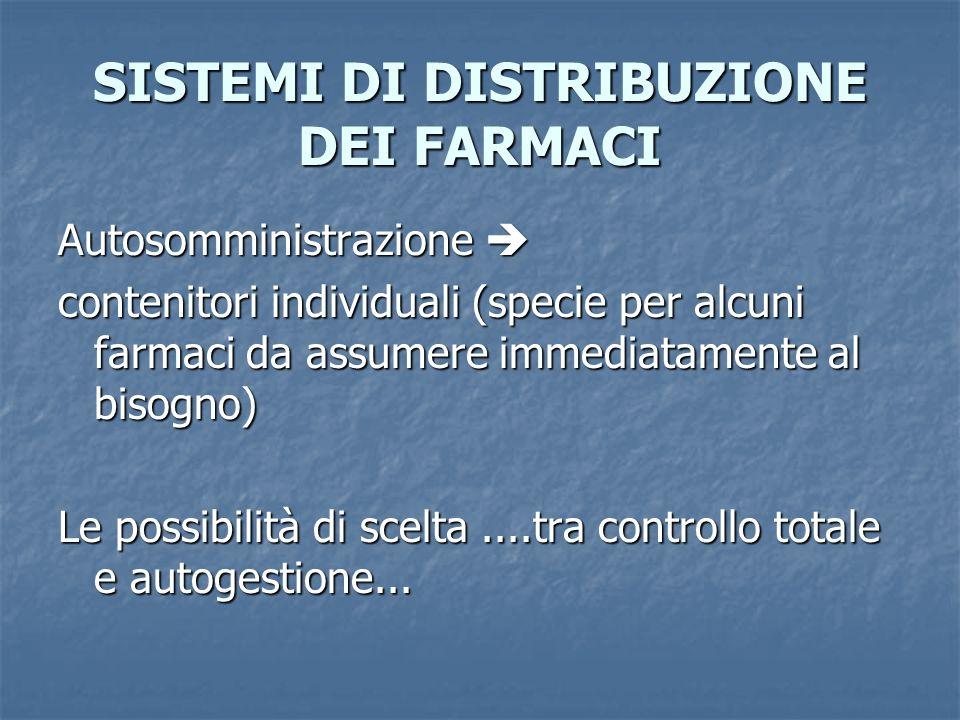SISTEMI DI DISTRIBUZIONE DEI FARMACI Autosomministrazione Autosomministrazione contenitori individuali (specie per alcuni farmaci da assumere immediat